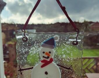 Snowman glass art