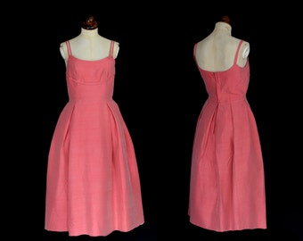 Original Vintage 1960s 1950s Pink Silk Cocktail Dress  - Small - FREE SHIPPING WORLDWIDE