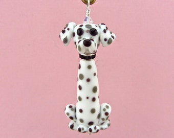 Dalmatian Figurine Pendant Ornament - Handmade Lampwork Glass Dog SRA