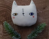 embroidered mini cat pillow, handmade cat stuffed pillow, cat plushie, gifts for kids,gift under 50