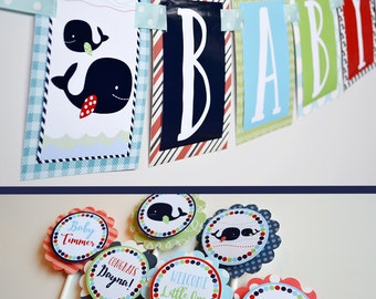 Whale Baby Shower Decorations Package Fully Assembled