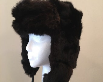 Vintage Soviet Rabbit Trapper Hat - Russian Black Rabbit - Warm Soft - Functional or Quirky - Unisex Trapper Hat - Hunting Skiing Mountains