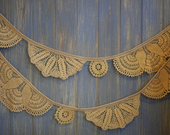 Vintage Doily Bunting. Wedding Bunting. A beautiful 3m strand made out of gorgeous dark cream doilies.