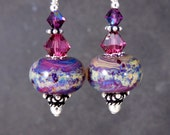 Purple Pink Ivory Glass Crystal Sterling Silver Dangle Earrings, Colorful Boho Chic Jewelry Jewel Tone Gypsy Earrings Boro Lampwork Earrings