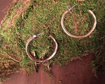 Brass bamboo hoop earrings