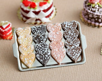 """Display of Valentine's Heart Shaped """"Lace Effet"""" Cookies on Metal Tray - Miniature Food in 12th Scale for Dollhouse"""