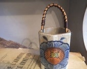 Vintage hand painted Handled  toothpick Holder ~ Japanese ~ Oriental ~ pottery
