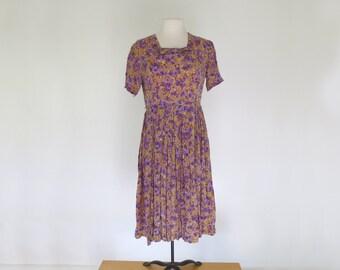 HEATHER FIELDS // silk 60s day dress with purple flowers
