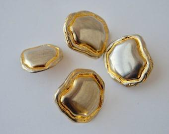 """Gold Metal Shank Buttons x 4 - (3) 3/4"""" x 7/8""""; (1) 1/16"""" x 5/8"""""""