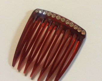 Rhinestone vintage hair comb brown.