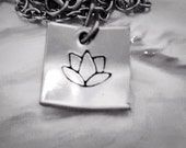 Silver Lotus Jewelry pewter necklace hand stamped yoga flower minimalist dainty hypoalegenic chain heart clasp