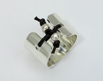 Tied up Leather Sterling Silver Wide Band Beaded Ring - Cuff Ring