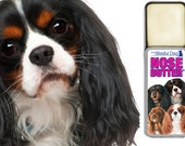 Cavalier King Charles Spaniel NOSE BUTTER® for Dry Crusty Dog Noses Choice Four Colors Cavalier on Label .50 oz. Slide Top Tin in Gift Bag