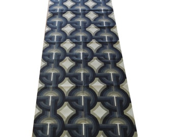 2 Curtain Panels of blue geometric fabric, mod art deco circles