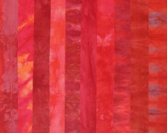 Hand Dyed Fabric - RED LETTER DAY Stash Pack - 10 Fat Eights