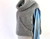 ON SALE Gray Sweater Vest Oversized Turtleneck Cowl Hand Knit