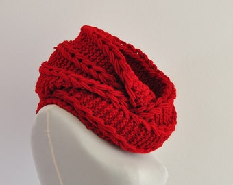 Red Infinity Scarf, Chunky Hooded Scarf, Christmas Gift, Winter Fashion, Winter Accessories