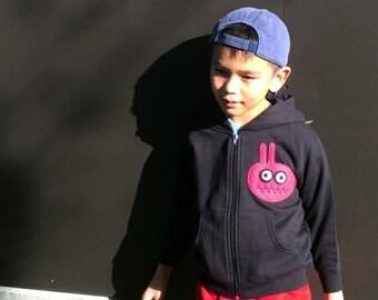 mi cielo x Matthew Langille - Bunny Monster – Black Kids Zipup Hoodie – Boys or Girls