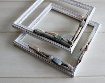 Art Frames for Beach Room Decor , Neutral Nautical Decorating , Seaglass & Driftwood Open Frame Set