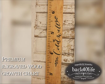 Premium wide ruler growth chart (The Coldwell) (GC-60Cold) - engraved lettering with name and leaf flourish 60""