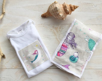 Baby Gift Set - Burp Cloth and One Piece for Baby Girl  - Mermaids / Ocean / Sea / Quote  - Newborn, Baby / Layette Set Size made in Maui