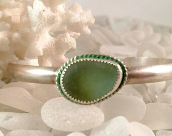 Sea Glass Bracelet Genuine Bonfire Sea Glass Silver Cuff Bracelet