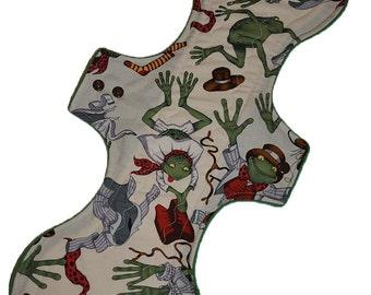 Heavy Hemp Core- Mr Toad Gets Dressed Reusable Cloth Goddess XL/Postpartum Pad- WindPro Fleece- 16.5 Inches