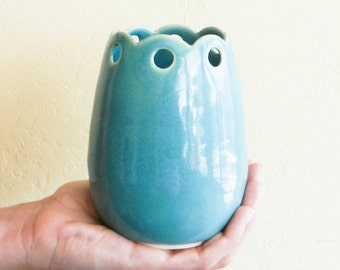 Lacy Aqua Green Medium Vase / Ceramic Vessel
