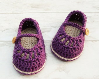 Baby girl mary janes , newborn baby gift, Crochet baby shoes handmade in France