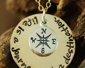 ON SALE Life is a Journey, Not a Destination, Hand Stamped Necklace, Personalized Jewelry, Compass Jewelry, Travel Jewelry, Graduation Gifts