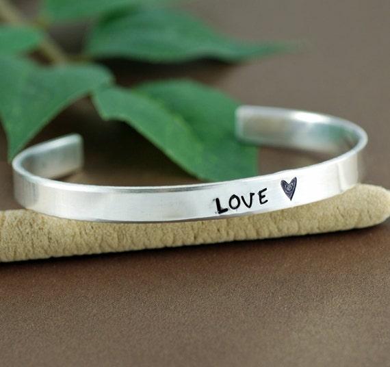 LOVE Cuff Bracelet, Personalized Silver Cuff Bracelet, Personalized Bracelets, Inspirational Bracelet, Motivational Bracelet, Spiritual Gift
