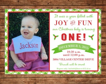 Boy or Girl Christmas Party One 1 Gingham Check Preppy Birthday Photo Picture Invitation - DIGITAL FILE