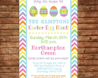 Chevron Easter Egg Hunt Spring Bright Colorful Party Boy or Girl Baby Birthday Invitation - DIGITAL FILE