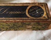 Antique dominos, boxed dominos Embossing Company decorative boxed dominos, antique game pieces wooden box dominos, display dominoes