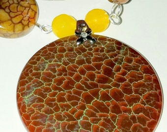 Fire Agate Pendant with Dragon Vein Agate Necklace