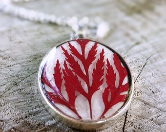 Real Leaf Necklace - Red Japanese Maple Leaf - Pressed Leaf Necklace - Nature Jewelry