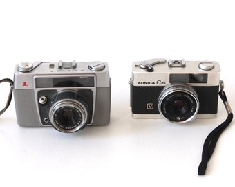 Set of two Konica L 35 and C35 cameras 35mm made in Japan