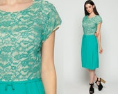 Lace Party Dress 60s Mod Cocktail Midi Tea Length 1960s Wiggle Hourglass Sixties Vintage Formal High Waist Mad Men Turquoise Blue Small
