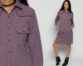 Western Dress 70s Shift Mod Mini PEARL SNAP Button Up Collared 1970s Long Sleeve Vintage 60s Twiggy ShirtDress Mauve Purple Small