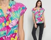 Hawaiian Shirt Floral Blouse Button Up Top 80s Vintage TROPICAL Surfer Jungle Leaf Print 1980s Short Cap Sleeve Pink Purple Extra Large Xl