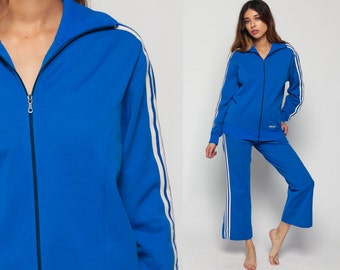 Adidas Tracksuit Bell Bottom Pants 70s Track Jacket Outfit Jogging Blue Striped Track Suit Trefoil Sports Vintage Retro Hipster Small Medium