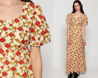 Boho Floral Dress 70s Maxi PUFF Sleeve Hippie Bohemian Empire Waist 1970s Festival Peasant Vintage Cream Red Small