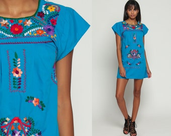 Embroidered Mexican Dress Hippie Boho Mini 80s Ethnic Turquoise Tent Bohemian Floral Cotton Tunic Traditional Blue Rainbow Extra Small xxs
