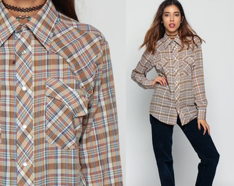 Pearl Snap Shirt 70s Western Plaid Top Brown 1970s Cotton Vintage Hipster Checkered Button Up Men Yoke Small Medium