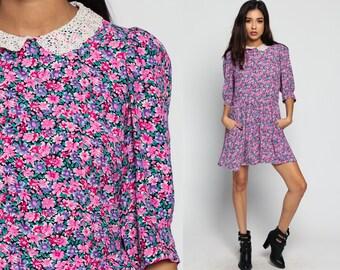 Floral Mini Dress 80s Crochet LACE Collar Puff Sleeve Grunge 1980s Boho Vintage Lolita Drop Waist Pocket Pink Purple Bohemian Large