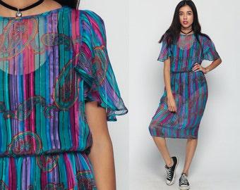 Sheer Dress Striped 70s Midi Bohemian PAISLEY Print High Waisted 80s METALLIC Flutter Puff Sleeve Vintage Boho Teal Pink Purple Medium Large