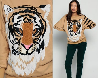 Tiger Sweatshirt 80s Animal Print Jumper TEXTURED Graphic Novelty Sweater Slouch Shirt 1980s Kawaii Vintage Hipster Tan Small