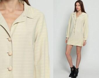 Button Up Dress Shirtdress 70s Shift Mod Mini COLLARED Cream Striped Plain 1970s Long Sleeve Vintage Twiggy Shirt Dress Large