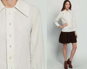 1960s Mod Dress Mini SCOOTER Space Age 60s Drop Waist Button Up Pleated Shift White Brown GOGO Vintage Long Sleeve Twiggy Medium
