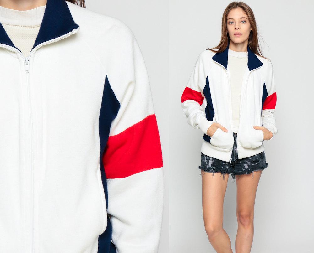 Zip up sweatshirt track veste ann es 80 couleur bleu marine - Veste annee 80 ...
